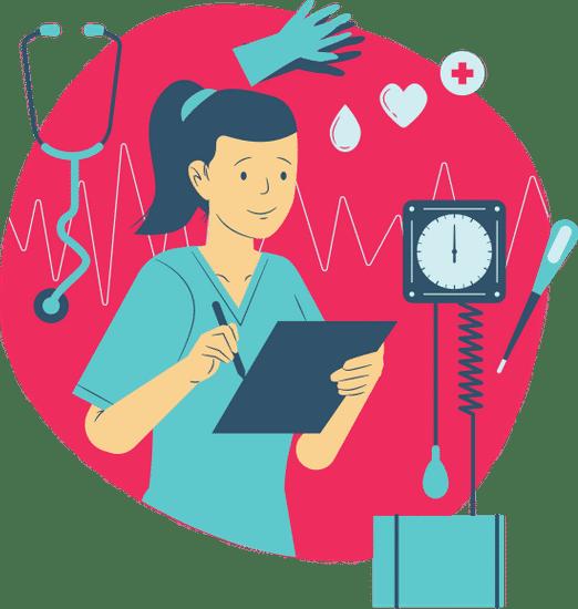 nurse - red background